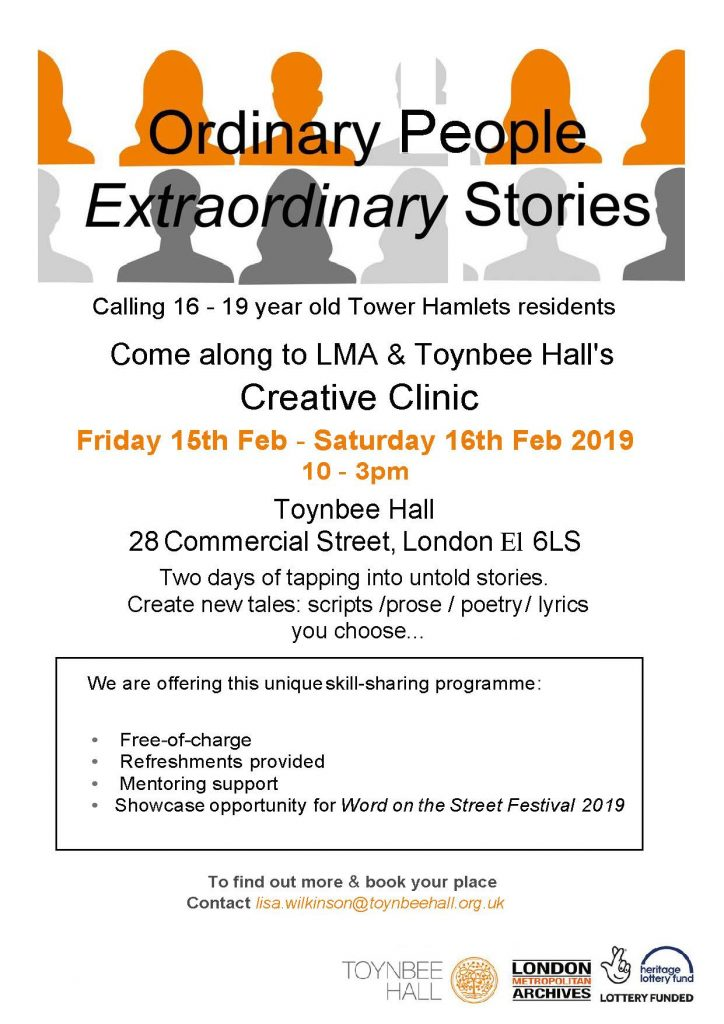 Ordinary People Extraordinary Stories - Free two day Creative Clinic for 16 to 19 year olds