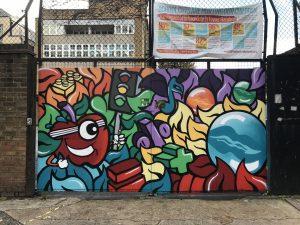 Mural on Canon Barnett School gates celebrating children's rights