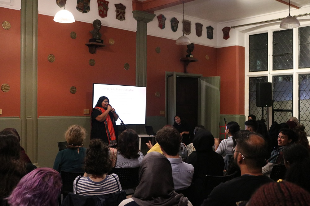 Promi Ferdousi a local Bengali poet, singer & community worker performing at  the When We Speak Launch