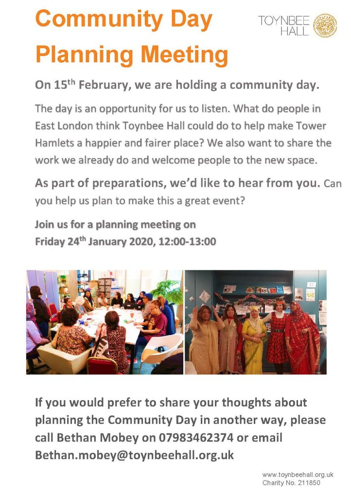 Community Day Planning Meeting Friday 24th January