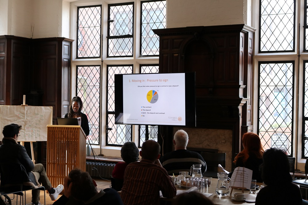 Young renters group present their research findings at launch event