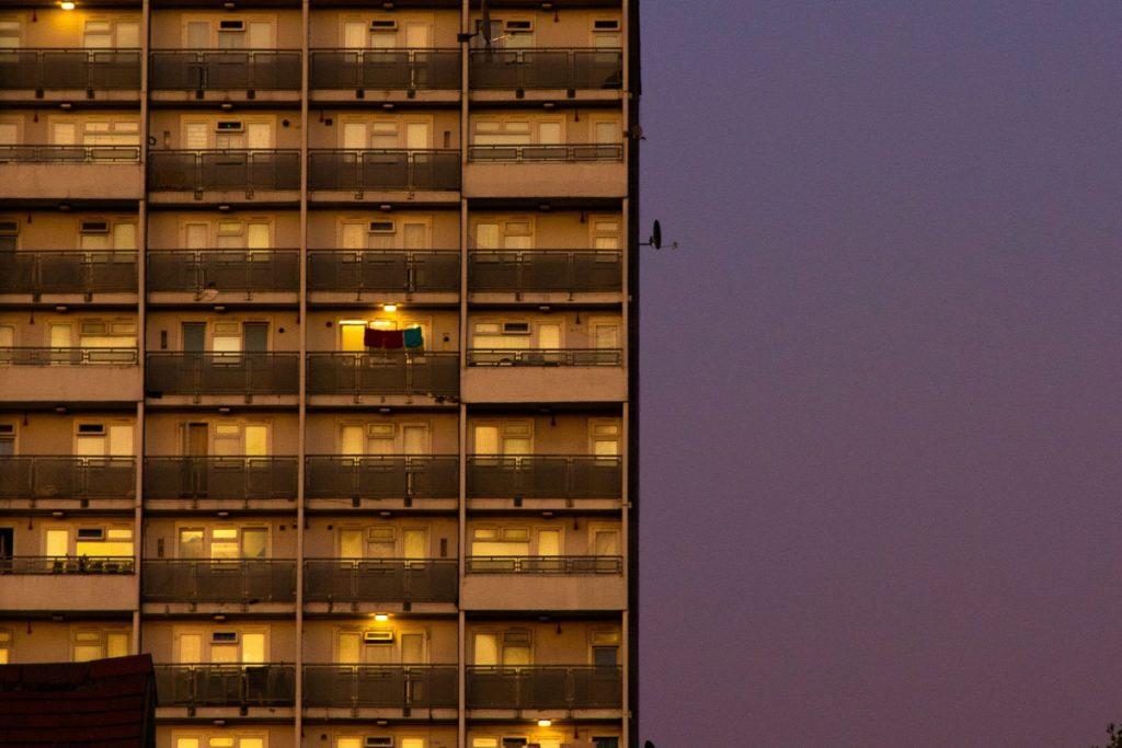 London block of flats at night