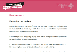 Rent arrears - contacting your landlord letter guidance