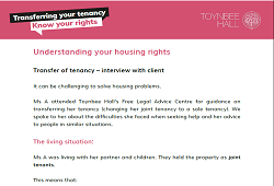 Transfer of tenancy – interview with client